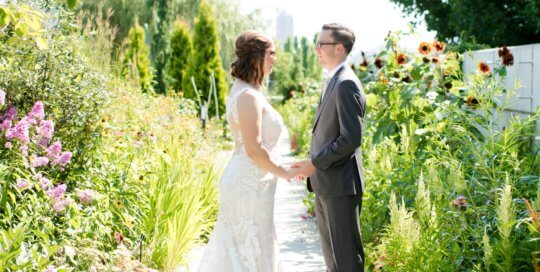 A couple in the Koehn Garden. Photo by Ivory House Photography.