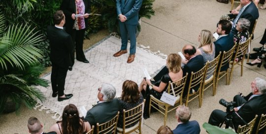 A ceremony in the conservatory. Photo by Lauren Konrad Photography.