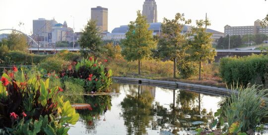 The view towards downtown Des Moines across the water garden. Photo by Kelly Norris.