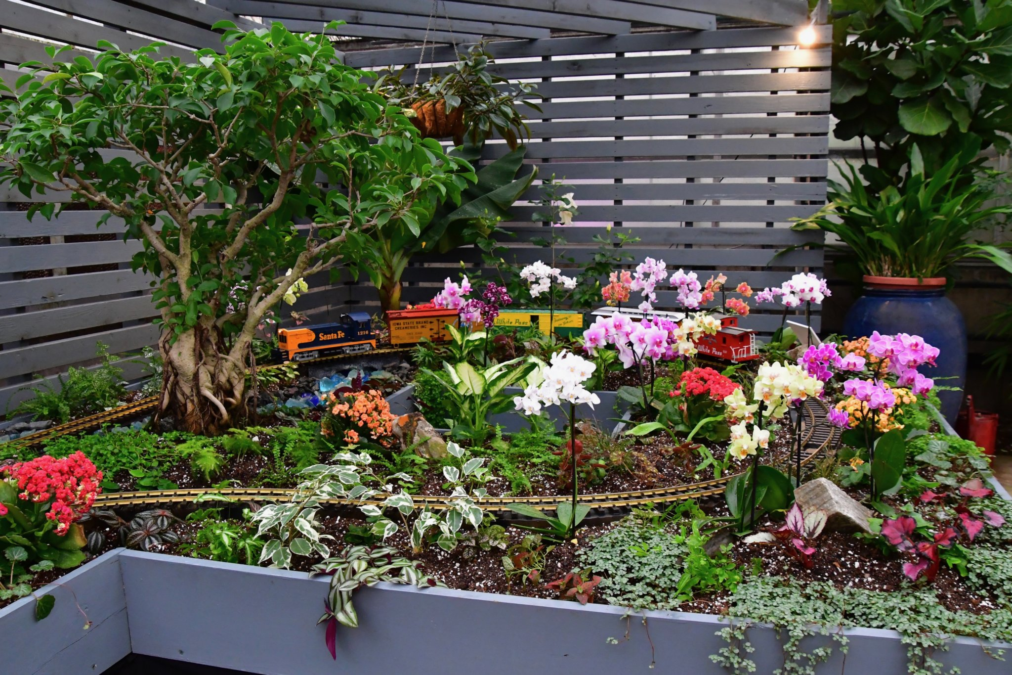 """The """"tropical"""" side of the holiday train display features vibrantly colored orchid blooms and varied greenery."""