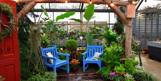 A look at the updated seating arrangement in the back of the Gardeners Show House.