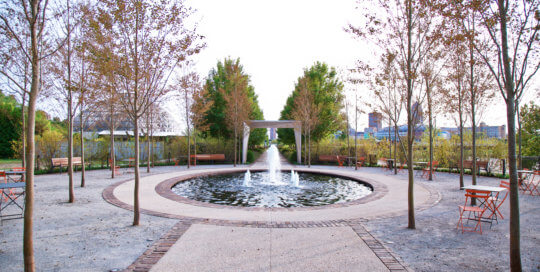 The Ruan Reflection Garden's reflecting pool and water fountain offer a peaceful place to sit and enjoy.