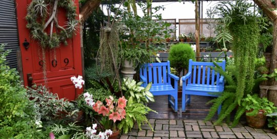 An inviting, peaceful place to enjoy the plants in the Gardeners Show House.