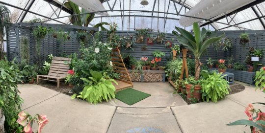 More inviting seating and a playful plant display are located in the back of the Gardeners Show House.
